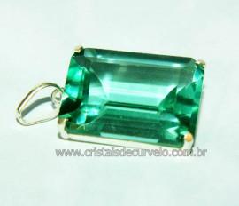 Pingente Facetado Pedra Obsidiana Verde Prata 950 Caixinha Garra Reforçado REF 35.4