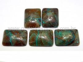 05 Retangulo Cabochao pra Pingente Pedra Crisocola Calibrado 15 x 20 MM