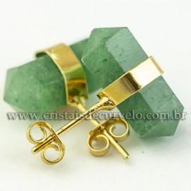 Brinco Bi Ponta Envolto Pedra Quartzo Verde Banho Dourado