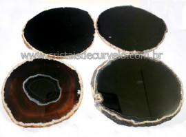 Chapa de Agata Negra Porta Copos Ou Artesanato G 100mm
