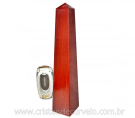 OBELISCO GRANDE Dolomita Vermelho Pedra Natural Lapidado Manual Cod 860.7