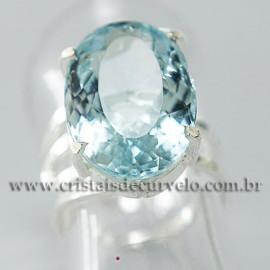 Anel Pedra Topazio Azul Facetado Prata 950 Ajustavel 112446