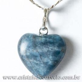 Pingente Mini Coração Apatita Azul 15mm Natural Pino Prata 950