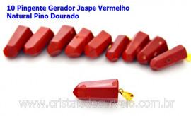 10 Pingente Pontinha Atacado Pedra Jaspe Vermelho Presilha e Pino Dourado