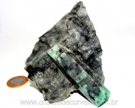 Esmeralda Canudo Incrustado Xisto Pedra Natural Cod CE1055