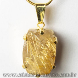 Pingente Pedra Cristal Rutilo Baguette Garra Dourada 112952