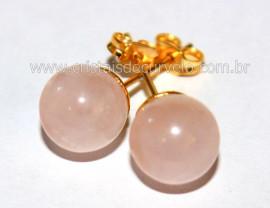 Brinco Bolinha Pedra Quartzo Rosa Pino Tarracha Banho Ouro Flasch