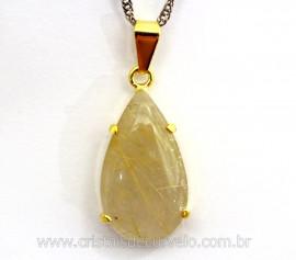 Pingente Gota Cristal com Rutilo Garra Dourado Reff GC8560