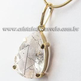 Pingente Gota Facetado Turmalina Incrustada Garra Dourada 112550