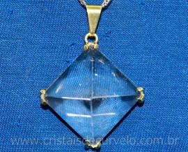 Pingente Piramide Cristal Extra Garra Dourado Reff PP1659