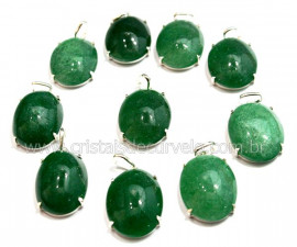 5 Pingente Cabochão Quartzo Verde Prata 950 Garra REFF CP4616