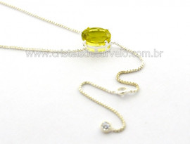 Colar Gravata Pedra Green Gold Natural Prateado Reff CG9908