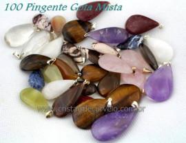 100 GOTA Pedra MISTO Natural Montagem Pingente Flasch Dourado ATACADO