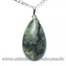 Pingente Gota Pedra Epidoto Natural Pino Prata 950 120445