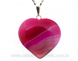Pingente Coração Pedra Agata Rosa Montagem Pino e Perinha Prata 950ct