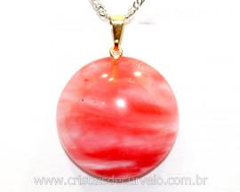 Pingente Disco Pedra Cherry Cabochão Pino Dourado REFF PD1928