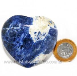 Coração Sodalita Pedra Azul Natural de Garimpo Cod 124100