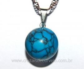 Pingente Bolinha Pedra Howlita Azul Pino Prateado Ref PB1563