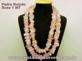 Promoção Fio Quartzo Rosa Pedra Rolado Furado 90cm Furos Manuais no Centro da Pedra