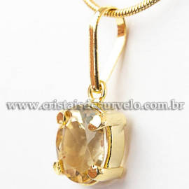 Pingente Pedra Citrino Oval Facetado na Garra Dourada 112535