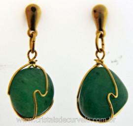 Brinco Cesta Amarrada Pedra Quartzo Verde Pino Tarracha Banho Ouro Flash