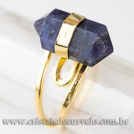 Anel Micro Pontinha Sodalita Bi Ponta Ajustavel Dourado