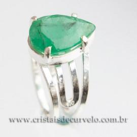 Anel Gema Esmeralda Facetada Berilo Prata 950 Ajustavel 112416