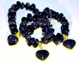 10 Pulseira Com Coração Pedra Estrela Azul Rolada ATACADO