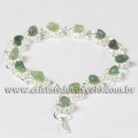 Pulseira Margarida Pedra Quartzo Verde Montagem Prateado