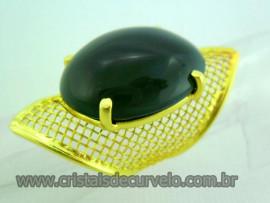 Anel Cabochão Oval Tela Ajustável Agata Verde Pedra Natural Montagem Dourado