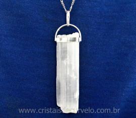 Canudo Selenita Bruto Pingente Mineral Natural Montagem Envolto Prata 950