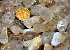 1kg Cristal com Rutilo Pedra Rolado Quartzo Rutilado Semi Transparente T Medio