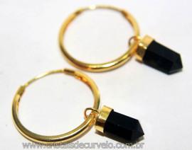 Brinco Argola com Pontinha Obsidiana Negra Montagem Dourada Reff 101240