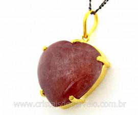 Pingente Extra Coração Pedra Quartzo Morango Montagem Garra Dourado