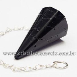 Pendulo Turmalina Preta Sextavado Pedra Natural Facetado