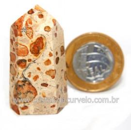 Ponta Jaspe Leopardo Natural Gerador Sextavado Cod 119313