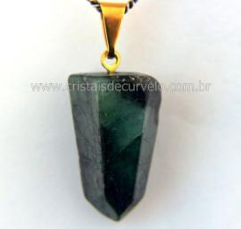 Pingente Pontinha Pedra Esmeralda Natural Presilha e Pino Dourado