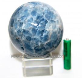 Esfera Calcita Azul Bola Pedra Natural de Garimpo Cod 110943