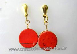 Brinco Disco Pedra Quartzo Vermelho Pino Tarracha Banho Ouro Flash