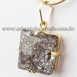 Pingente Baguette Turmalina Incrustada Garra Dourada 112553