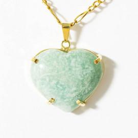 Pingente Extra Coração Pedra Amazonita Verde Montagem Garra Dourado