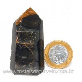 Ponta Onix Preto Pedra Natural Gerador Sextavado Cod 128919