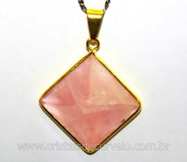 Pingente Piramide Pedra QUARTZO ROSA Castoação Envolto Dourado Ouro