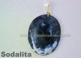 Pingente Cabochão SODALITA Pedra Natural Castoação Pino Banho Prata