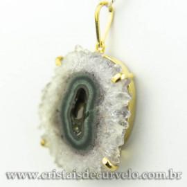 Pingente Flor de Ametista Pedra Natural Garra Dourado 120608