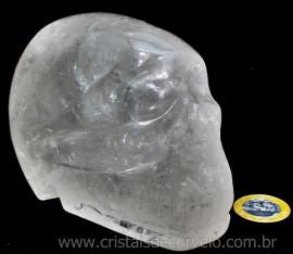 Crânio Quartzo Lapidado Artesanal Pedra Cristal Semi Transparente  Cod 1.161