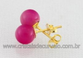 10 Brinco Bolinha Pedra Agata Rosa Pino Tarracha Banho Ouro Flasch Dourado