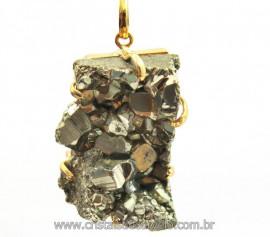 Pingente Drusa Pirita Extra Pedra Natural Montagem Envolto Dourado cod PP4193
