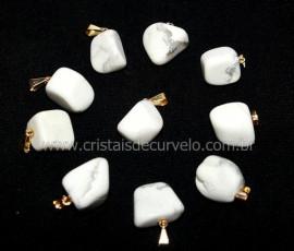 10 Pingente Pedrinha Howlita Branca Dourado ATACADO Reff PA8776