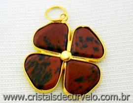 Pingente Trevo Obsidiana Mahogany  Pedra Natural Trevinho da Sorte Flasch Dourado